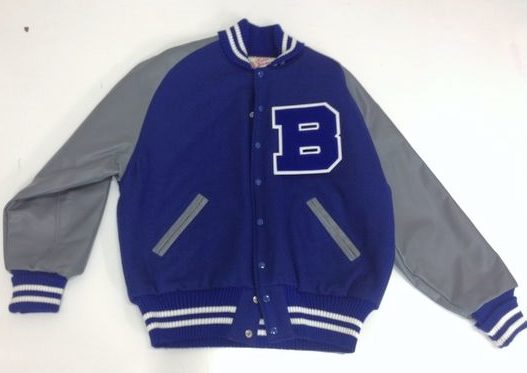 gray leather varsity